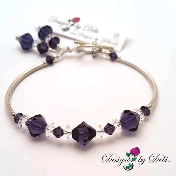 156b4d2f815e Purple Swarovski Crystal Silver Toggle Bracelet
